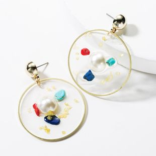 Fashion Alloy Round Resin with Pearl Turquoise Earrings NHJE149470's discount tags