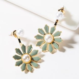 Fashion Alloy Drop Oil Floral Pearl Earrings NHJE149472's discount tags