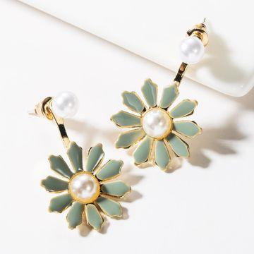Aretes de perlas florales de gota de aleación de moda NHJE149472