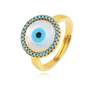 Fashion copper inlaid zircon color eye opening ring NHLN149483's discount tags