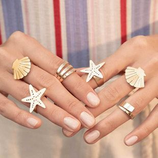 Fashion Starfish Shell Alloy Open Ring NHOT149485's discount tags