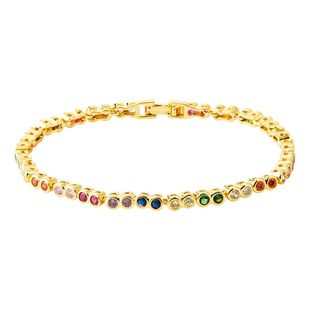 Stylish Adjustable Color Micro-Inlay Zircon Bracelet NHLN149490's discount tags