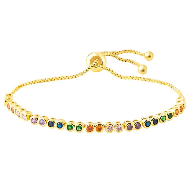 Stylish copper inlay zircon color adjustable bracelet NHLN149491