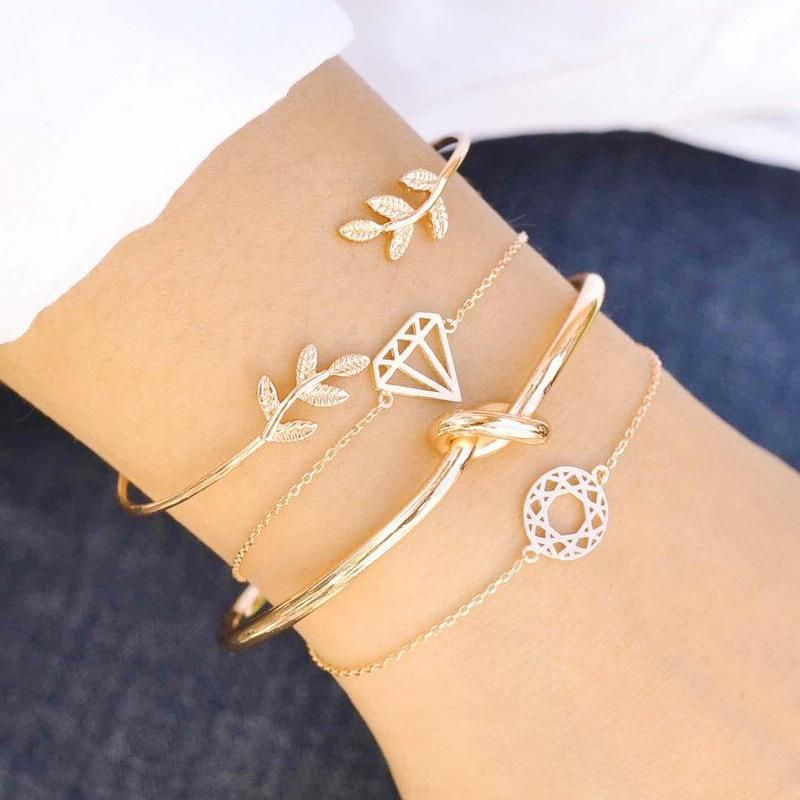 New alloy leaf diamond knotted carved hollow bracelet 4 pics set NHPV149492