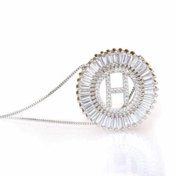New copper inlaid zircon 26 English alphabet necklace white NHBP149503