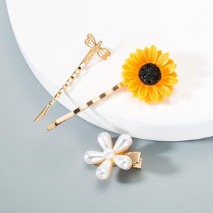 Fashion Pearl Sunflower Hair Clip Set NHLN149505's discount tags