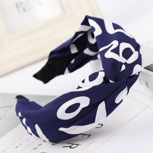 Fashion knit letter print knotted headband NHHV149525's discount tags