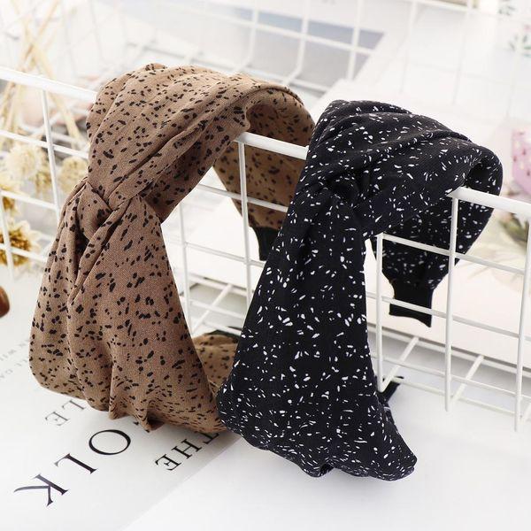 Fashion cloth dot wide knot knot cross headband NHHV149527