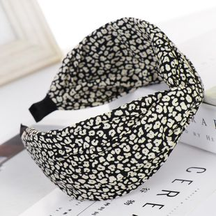 Fashionable leopard point wide headband NHHV149528's discount tags