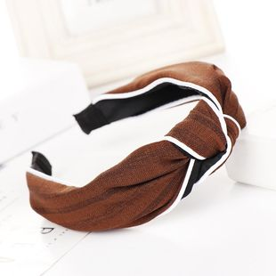 Fashion striped bow wide headband NHHV149529's discount tags