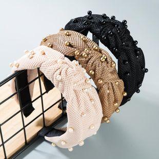 Fashion pearl velvet bow headband NHLN149542's discount tags