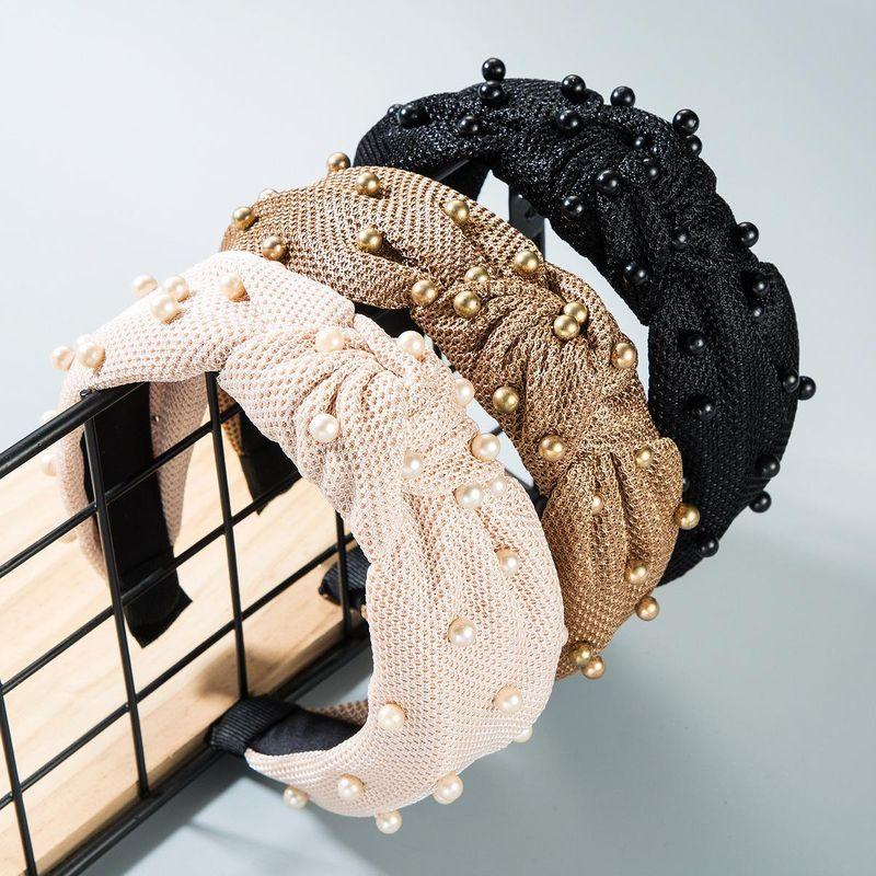Fashion pearl velvet bow headband NHLN149542