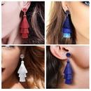 Vintage ethnic style crystal cluster gradient tassel earrings NHDP149395