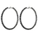 Fashion black rhinestone large circle studded hoop earrings NHJE149447