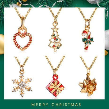 Christmas Fashion Snowflake Cane Christmas Tree Drops Oil Necklace NHDP155616's discount tags
