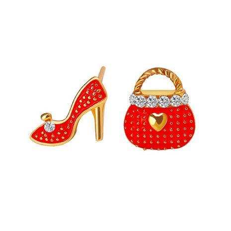 Fashion bag high heels asymmetric diamond stud earrings NHDP155619's discount tags