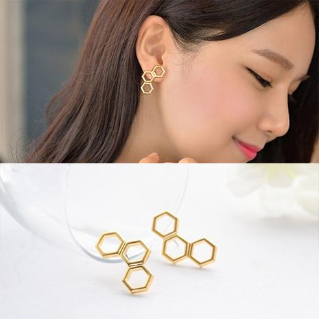 Hollow geometric hexagon stud earrings NHDP155623's discount tags