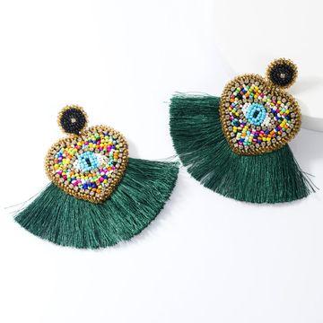 Fashion heart-shaped flannel-studded eye beads woven tassel earrings NHJE155624