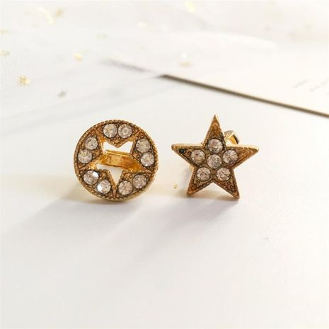 Full diamond five-pointed star stud earrings NHDP155625's discount tags