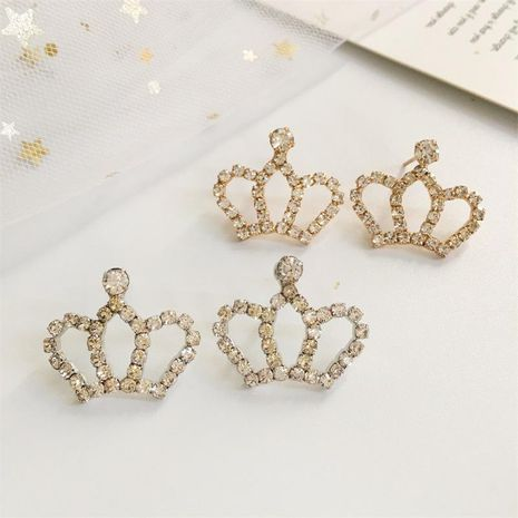 Small rhinestone shiny crown stud earrings NHDP155627's discount tags