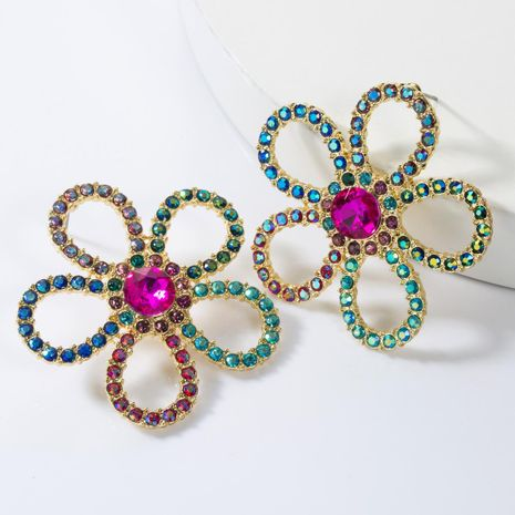 Sweet colorful diamond flower openwork stud earrings NHJE155628's discount tags