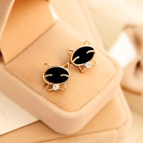 Fashion cute black smiley cat rhinestone earrings NHDP155632's discount tags