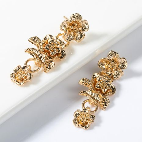 Multi-layer alloy flower long earrings NHJE155645's discount tags
