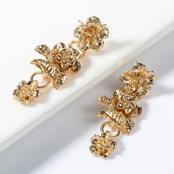 Multi-layer alloy flower long earrings NHJE155645