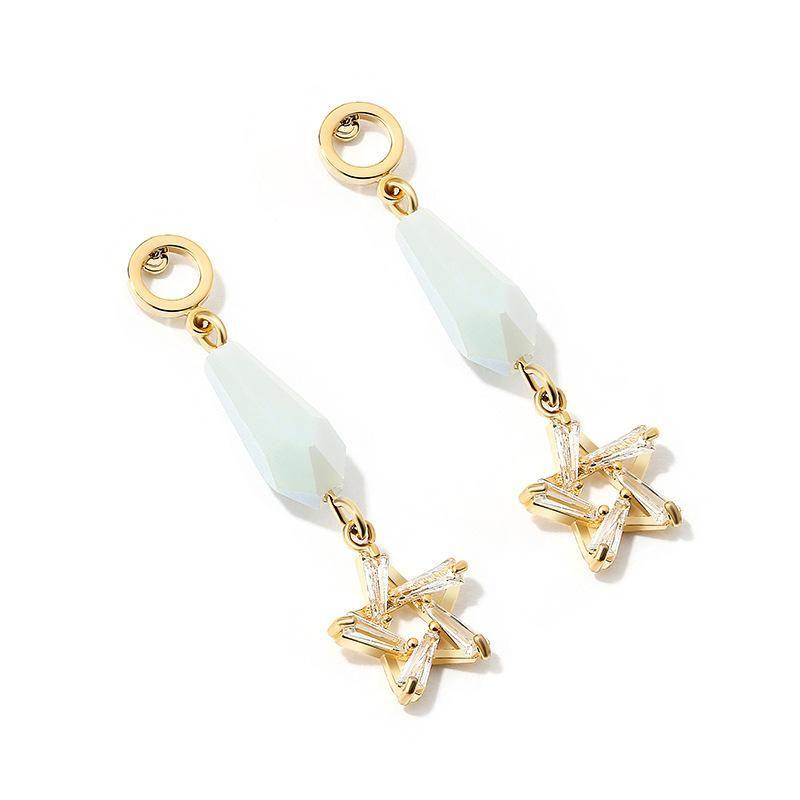 Crystal Pentagram Earrings NHLL155648