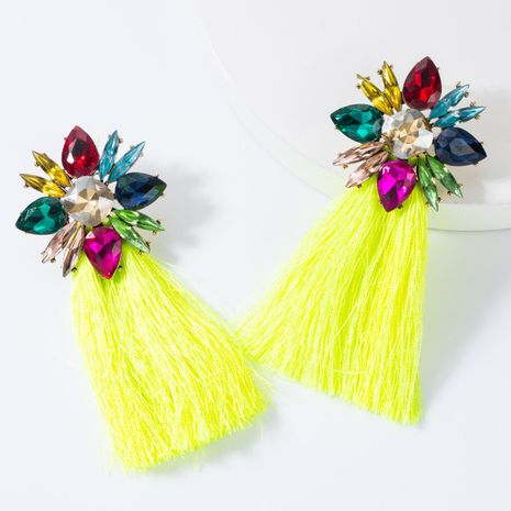 Diamond-studded long tassel earrings NHJE155649's discount tags