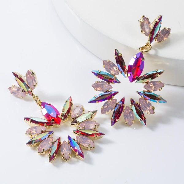 Aretes de flores de diamantes multicapa NHJE155651