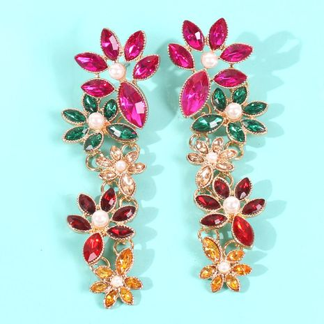Fashion color diamond pearl flower alloy earrings NHMD155660's discount tags