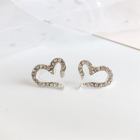 Rhinestone heart-shaped silver-plated earrings NHDP155666's discount tags