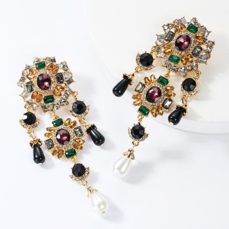 Multi-layer alloy diamond pearl earrings NHJE155671's discount tags