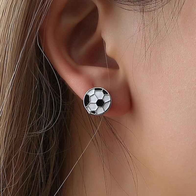 Black and white plaid new stud earrings NHDP155673