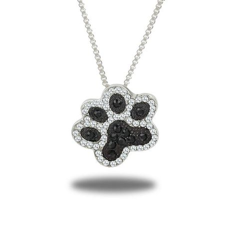 New diamond-studded paw print necklace NHDP155691's discount tags