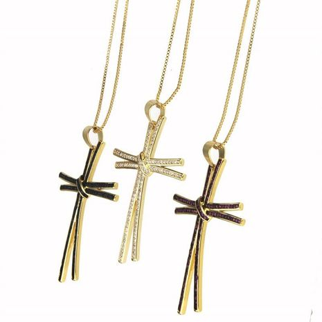 New Zirconium Cross Necklace NHBP155693's discount tags