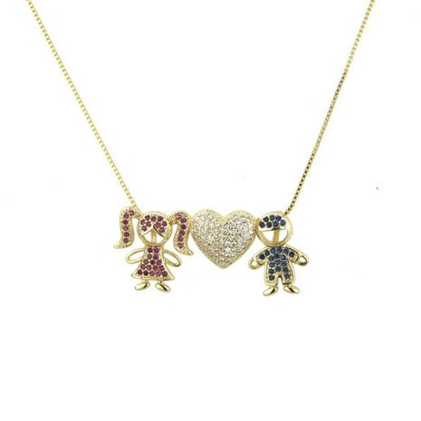 Heart-shaped colored zircon necklace NHBP155697's discount tags