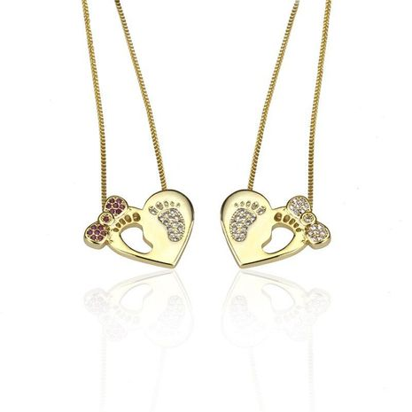 Heart-shaped colored zircon ankle necklace NHBP155698's discount tags