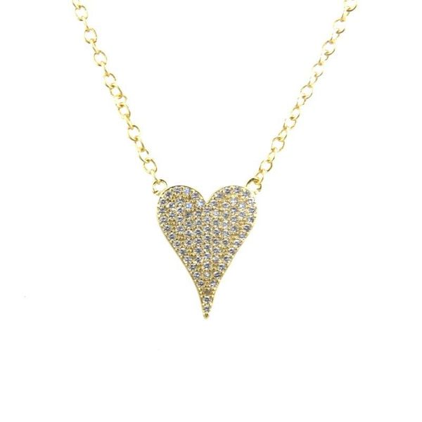 Stylish gold-plated zircon heart necklace NHBP155701