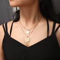 Stylish metal double-layer round necklace NHPF155704's discount tags