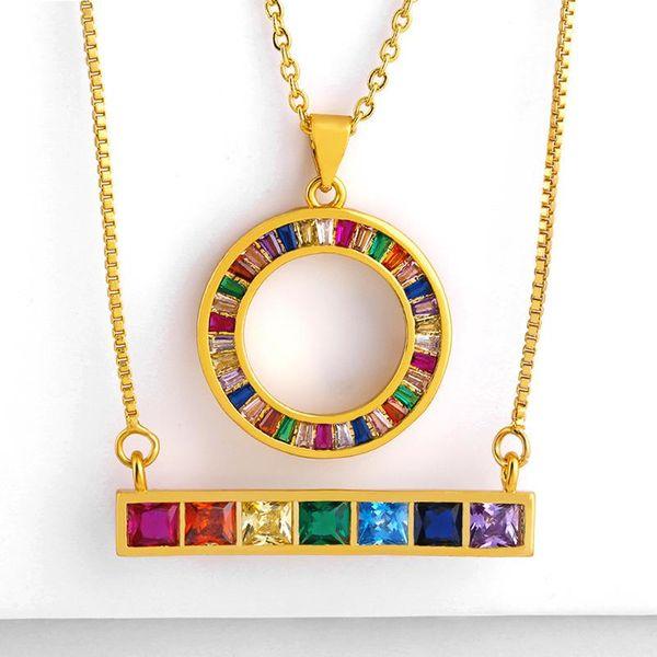 Stylish rectangular color zircon copper necklace NHAS155710