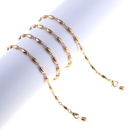 Golden oval beads glass chain NHBC155717's discount tags