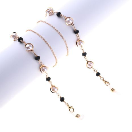 Pearl crystal metal handmade glasses chain NHBC155722's discount tags