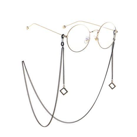 Cadena de gafas con colgante cuadrado negro NHBC155725's discount tags