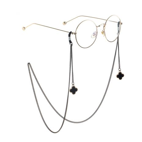 Black four-leaf metal glasses chain NHBC155726's discount tags