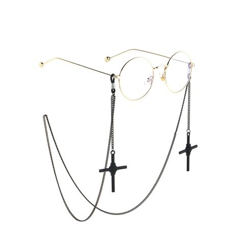 Fashion black cross glasses chain NHBC155727's discount tags