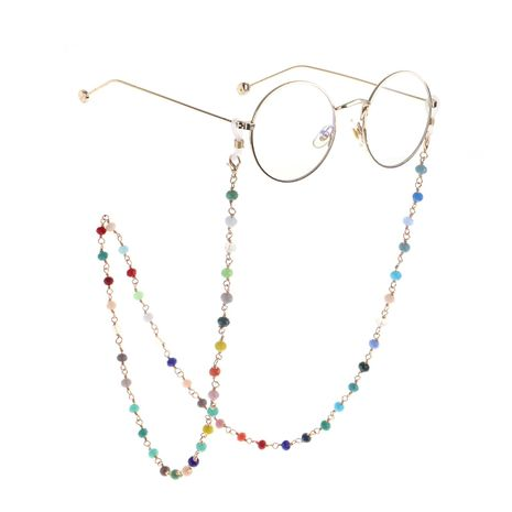 Color crystal metal handmade glasses chain NHBC155729's discount tags