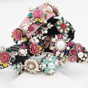 Baroque porcelain flower full of leaf headband NHWJ155734's discount tags