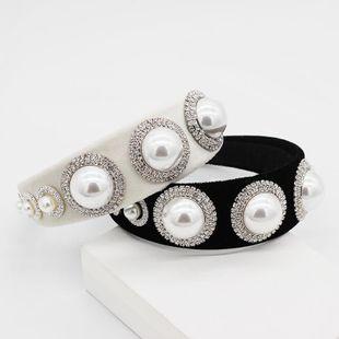 New Baroque large pearl diamond headband NHWJ155756's discount tags